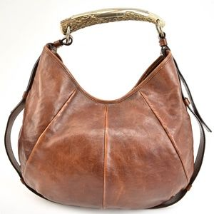 YSL Mombasa Brown Leather & Horn Shoulder/Hobo mo